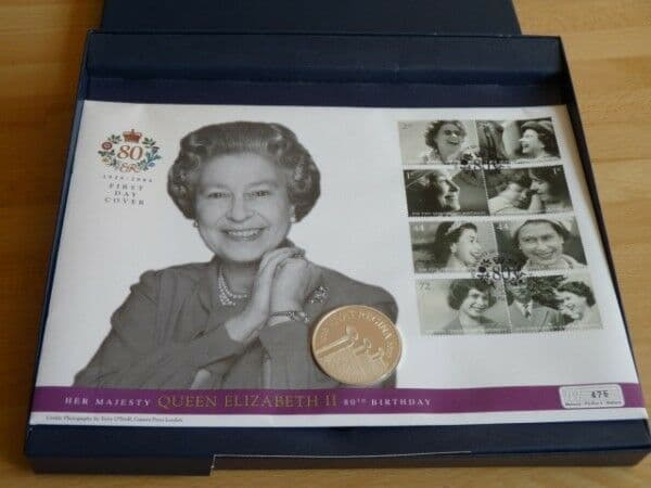 Rare 2006 QEII 80th birthday silver proof coin first day cover